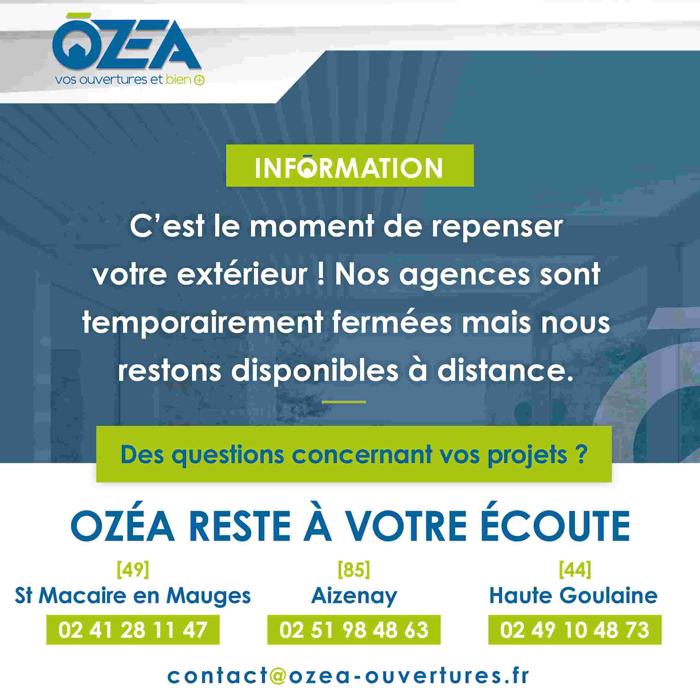 OZEA reste ouvert 29102020
